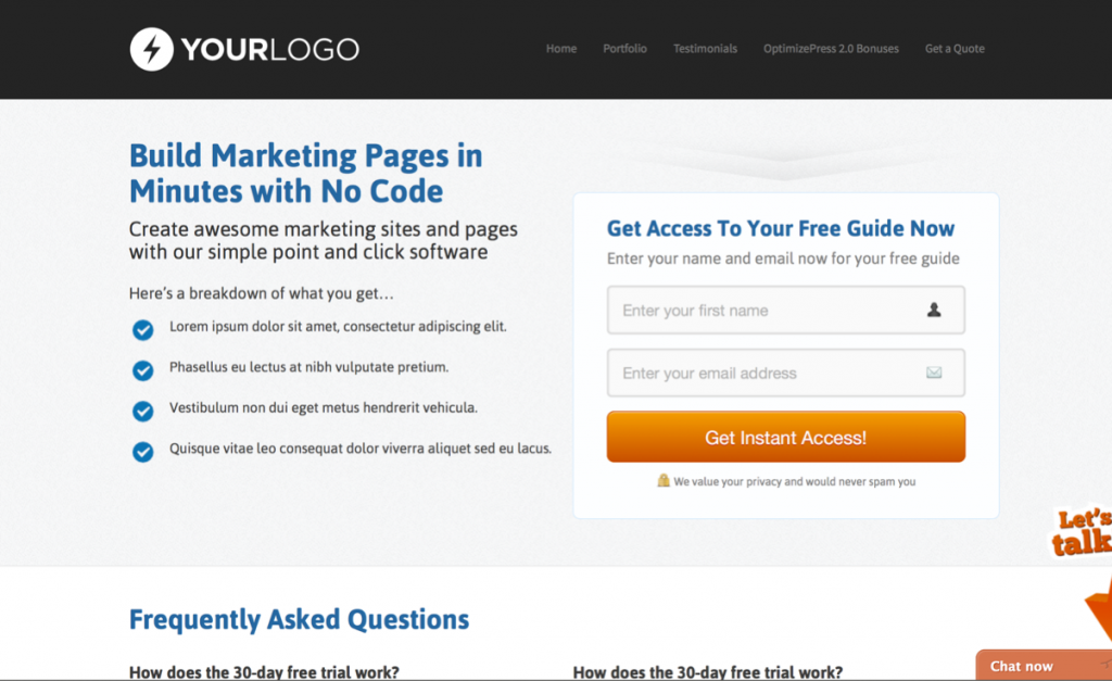 Landing Page with Content